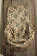 Chair Slipcover Antique French Fabric C1870 For Wingback Or Slipper Floral Teal