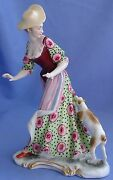 Antique Fox Rat Terrier Jack Russell Dog Lady Bustelli Nymphenburg Germany 7