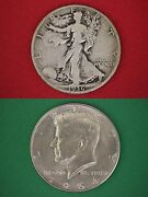 Make Offer 3.00 Face Value Walking Liberty 1964 Kennedy Half Dollars 90 Silver