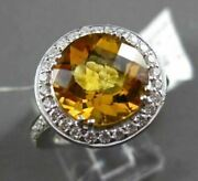 Antique Large 4.55ct Diamond And Extra Facet Citrine 14kt White Gold Filigree Ring