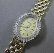 Estate .40ct Diamond 14kt White And Yellow Gold Oval Geneve Quartz Watch 19133