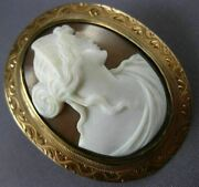 Antique Large 14kt Rose Gold Classic Shell Lady Cameo Filigree Brooch Pin 21879