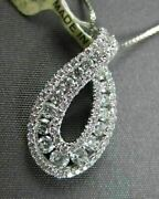 Antique .82ct Round Diamond 18kt White Gold 3d Drop Pendant And Chain Stunning