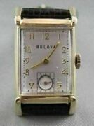 Antique 14kt Gold Square Face Bulova Menand039s Watch Simple And Classic 21622