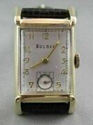 Antique 14kt Gold Square Face Bulova Men's Watch Simple And Classic 21622