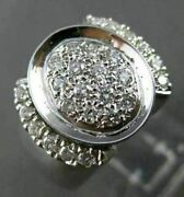 Antique Large .62ct Round Diamond 18kt White Gold 3d Oval Ring Beautiful 22508
