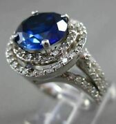 Estate Large 6.12ct Diamond And Aaa Sapphire 14kt White Gold Halo Ring 21427