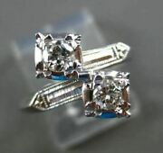 Antique Wide .60ct Diamond 14kt White Gold Double Headed Fun Ring Stunning 17259