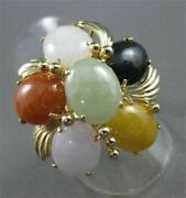 Estate Wide 10.0ct Jade Amber Onyx And Carnelian 14kt Yellow Gold Flower Ring 2775