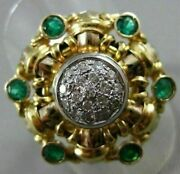 Antique Large 1.56ct Diamond And Emerald 14k 2tone Gold Filigree Woven Ring 21277