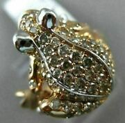 Estate Large 1.20ct Diamond And Aaa Ruby 18kt Rose Gold 3d Etoile Happy Frog Ring