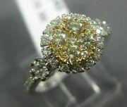 Estate Wide .85ct White And Fancy Yellow Diamond 14k Yellow Gold Halo Cluster Ring