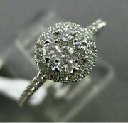 Estate Wide .52ct Diamond 18kt White Gold 3d Etoile Cluster Halo Promise Ring