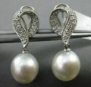 Estate .76ct Diamond 18kt White Gold South Sea Pearl Love Knot Clip On Earrings