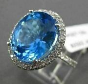Antique Large 7.28ctw Diamond And Aaa Blue Topaz 14kt White Gold 3d Oval Fun Ring