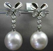 Estate Large .22ct Diamond 14k White Gold Aaa South Sea Pearl Butterfly Earrings