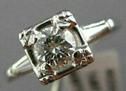Antique Old Mine .54ct Round Cut Diamond 14kt White Gold Engagement Ring 22209