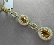 Antique Large And Long 5.36ctw Diamond And Aaa Citrine 18kt 2 Tone Gold Drop Pendant