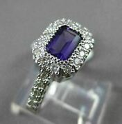 Antique 1.10ct Diamond And Aaa Amethyst 14kt White Gold Halo Solitaire Fun Ring