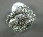 Estate Wide 1.50ct Round And Baguette Diamond 14kt White Gold Multi Wave Leaf Ring
