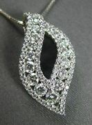 Antique 1.09ct Round Diamond 18kt White Gold Leaf Floating Drop Pendant And Chain