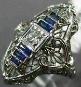 Antique .21ct Old Mine Diamond And Aaa Sapphire 18k White Gold Filigree Ring 19859