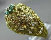 Antique Large Diamond And Aaa Emerald 18k 2 Tone Gold Filigree Cluster Ring 21452