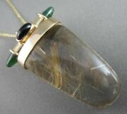 Large Aaa Emerald And Amethyst 14kt Yellow Gold Lucky Rutilated Quartz Pendant