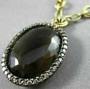 Antique Large 28.86ct Fancy Diamond And Aaa Smoky Topaz 14kt Yellow Gold Necklace