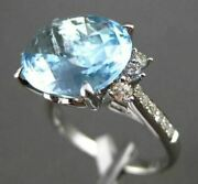 Antique 7.54ctw Aaa Extra Facet Blue Topaz And Diamond 14k White Gold Heart Ring