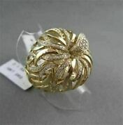 Antique Wide 1.60ct Diamond 18kt Yellow Gold 3d Open Filigree Flower Leaf Ring