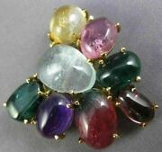 Estate Extra Large 80ct Multi Gem 14kt Yellow Gold Butterfly Pin Brooch Pendant
