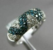 Estate 2.29ct White And Blue Diamond 14kt White Gold Criss Cross Pave Wedding Ring