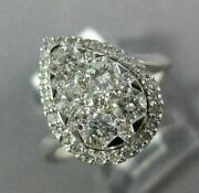 Estate Large 1.0ct Diamond 14kt White Gold 3d Cluster Pear Halo Engagement Ring