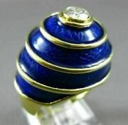 Antique .58ct Old Mine Diamond And Blue Enamel 18k Yellow Gold Solitaire Ring 1992