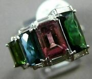 Estate Large 5.15ct Diamond And Multi Color Tourmaline 14k White Gold Journey Ring