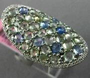 Large 4.21ct Diamond And Aaa Green Amethyst And Blue Topaz 14kt White Gold Oval Ring