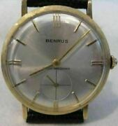 Antique Large Benrus Shock Absorober 14kt Yellow Gold Mens Watch 35mm 8 18285