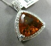 Estate Extra Large 11.01ct Diamond And Aaa Citrine 14kt White Gold 3d Halo Pendant