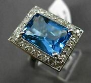 Antique 8.17ct Diamond And Aaa Blue Topaz 14k White Gold Filigree Emerald Cut Ring