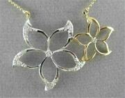 Antique Large Two Tone 18kt Flower Diamond Necklace Beautiful One Of A Kind