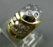 Estate Wide .69ct Diamond 14kt White And Yellow Gold Multi Row Etoile Ring 3330