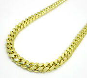 5.2mm 26-30 10k Yellow Real Gold Miami Cuban Italy Curb Mens Chain Necklace