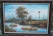 Vintage Oil Painting Hunting Scene Duck Dog Windmill Swamp Signed 24x 30 Nice