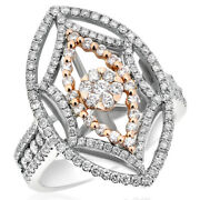14k White Rose Two Tone Gold Pave Cluster Diamond Right Hand Cocktail Ring