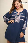 Umgee Embroidered Navy And Pink Keyhole Dress W/ Ruffled Long Sleeves Plus Size