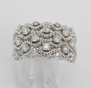 White Gold 1.00 Ct Diamond Engagement Ring Anniversary Cluster Band Size 7