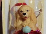 3 Pc Set Cocker Spaniel Dog Figurine Red Brass Bell Dnc Collections Lot Ornament