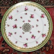 Austria Red W /wreath Cabinet Plate Pink Cabbage Roses Gold Gilt Green 7.5w