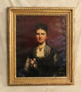 19thc Large Ooc Portrait Victorian Lady Gold Gesso Framesigned F.moscheles 1885
